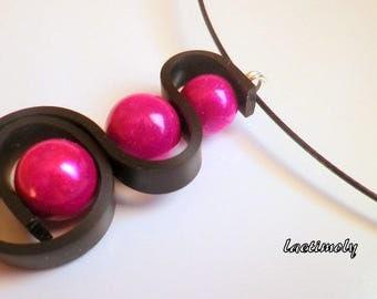 fantasy Choker necklace from fuchsia to black