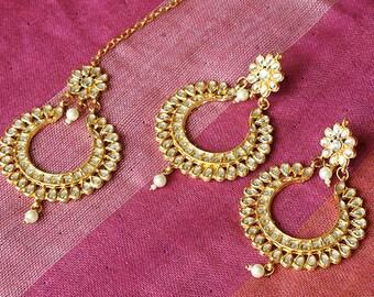 Gold Tone Kundan Earrings & Tikka Set   Meenakari   Indian Jewelry   Bollywood Jewelry