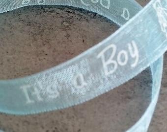 "Blue organza Ribbon ""It's a boy"""