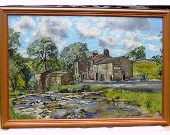 C 1950/60's TL Kerkham Painting, Large, Original, Renowned Artist, Signed, Appreciating, River Wharfe & White Lion, Buckden, Yorkshire Dales