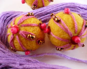 wool bead, Pearl wool, felted wool, embroidered, yellow, Pearl bead, Christmas decoration