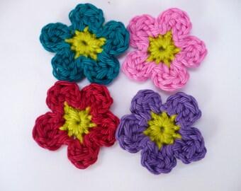 crochet flowers, multicolored, cotton, crochet flower in cotton, scrapbooking, custom flower applique