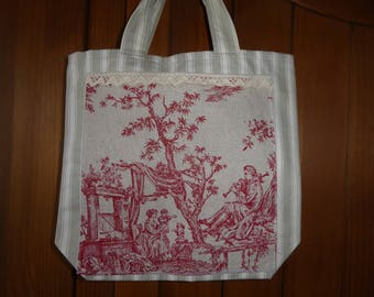 grocery bag made in a beautiful ticking and French toile de jouy