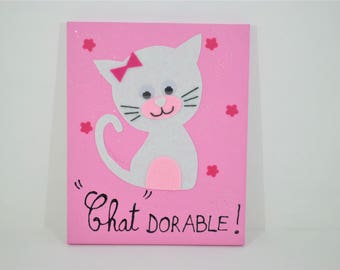 "Painting ""Cat dorable"" pink background"