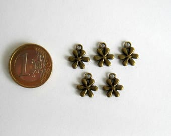 5 charms bronze flower 13 mm x 11 mm