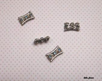 Sky blue rhinestone silver separator
