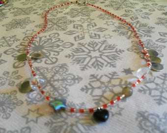 colorful, original, trendy (red and silver) necklace