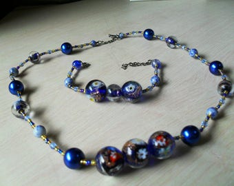 set (necklace and bracelet), modern, original, fine (Blue Navy and gold)