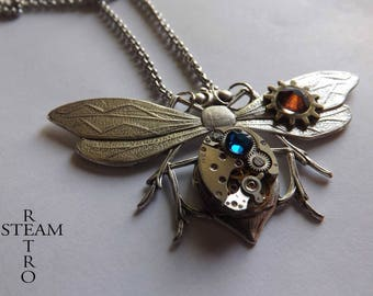 Blue steampunk entomologist necklace - steampunk - steampunk Firefly - moth - mechanical Dragonfly - Dragonfly necklace dragonfly