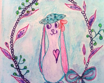"""Small illustration """"Lilirose Bunny and her pretty hat"""""""