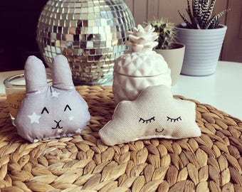 Little gray Bunny head white