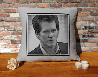 Kevin Bacon Pillow Cushion - 16x16in - Grey