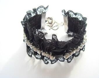lace black rhinestone Cuff Bracelet