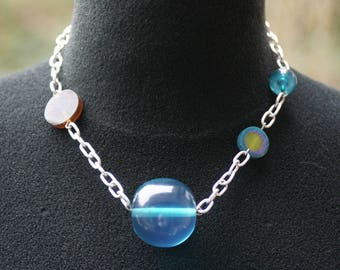 Necklace chain and blue resin beads