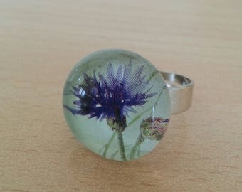 Glass purple Thistle flower pattern ring