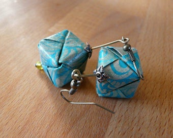 Origami earrings cube paper turquoise blue and gray