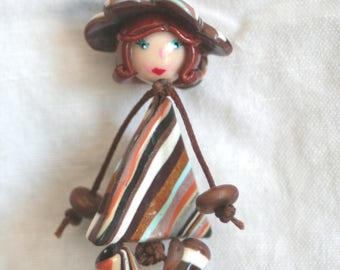 Striped Brown - chick dress triangle & Flower hat.