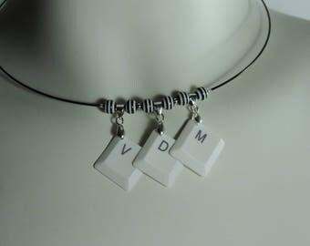 """""""FML"""" keyboard letters black steel cable necklace, geek, recycling necklace necklace white keyboard keys"""