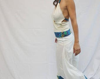 turquoise and white harem pants in cotton and wax