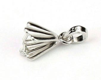 ES-1262 - 925 Sterling Silver Rhodium plated - Set of 2 Pinch Bails for pendant and necklace