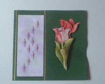 Embroidered card Tulip pink/red (4)