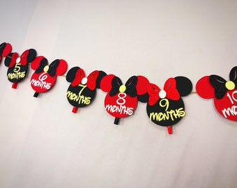 NB-12 months picture Banner, Minnie Mouse first Birthday Picture banner.