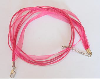 Choker, wax cotton organza, MULTISTRAND, pink