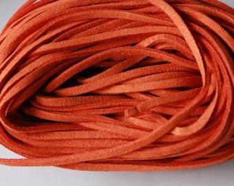 Suede cord, orange, 1 m