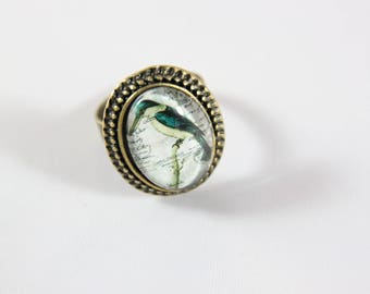 the Blue Bird cabochon Adjustable ring