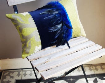 Bohemian chic blue and green patchwork pillow