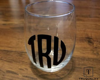 Personalized Monogram Stemless Wine Glass - 15oz - Many Colors Available!