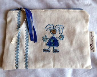 Pouch/clutch boy, white denim and embroidery.