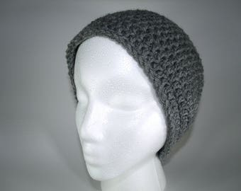 Stormy Grey Handmade Skull Cap Crochet Beanie Custom