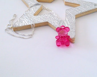 Necklace child pink bear pendant