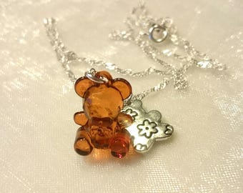 Necklace child brown bear pendant