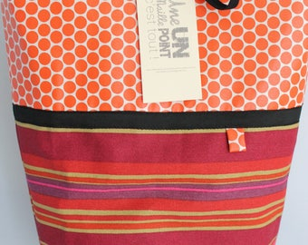 stripes and orange tablets cotton shopping bag