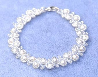 Glistening Crystal and Pearl Bracelet