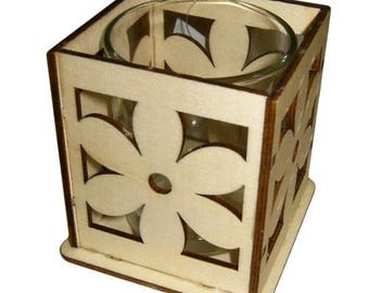 Lazer cut flower candle holders