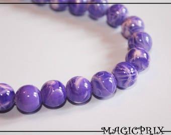 SET of 85 beads glass marbled purple Ø 10 mm m2300