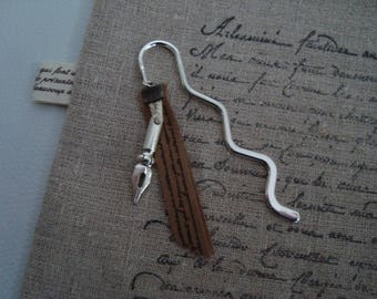 elegant bookmark silver metal, poetic Ribbon and feather