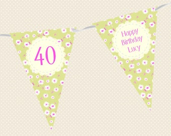 Personalised Birthday Bunting - Daisy Design in a variety of colours - Made in UK