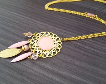 Navette pink dream catcher necklace