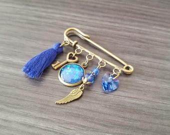 Swarovski blue heart brooch