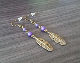 Purple feather earring