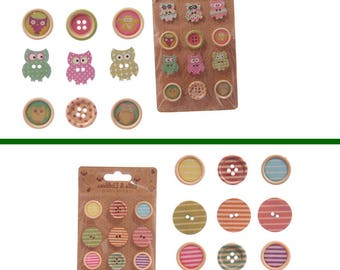 Craft buttons wood set of 2 OWL button