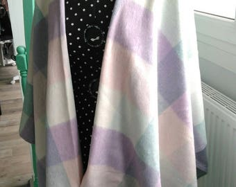 Poncho cape shawl pastel plaid scarf