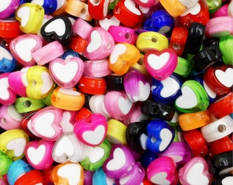 20 heart acrylic beads making jewelry 8 x 4 mm