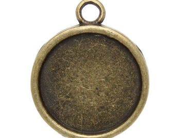 Set of 50 pendants 18 mm bronze paste cabochons