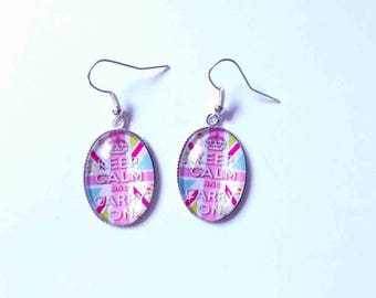 Nice pair of earrings with cabochon 25 x 18 mm