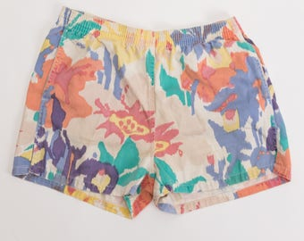 Vintage 80's Watercolor Floral Print Short